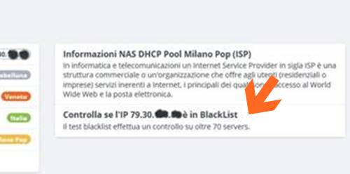Controlla IP Pubblico se è in BlackList con www.iltuoip.it